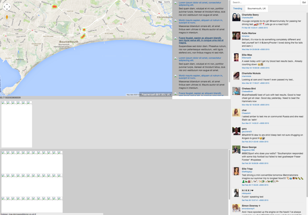 Google Map API And Twitter API Connected - Bournemouth