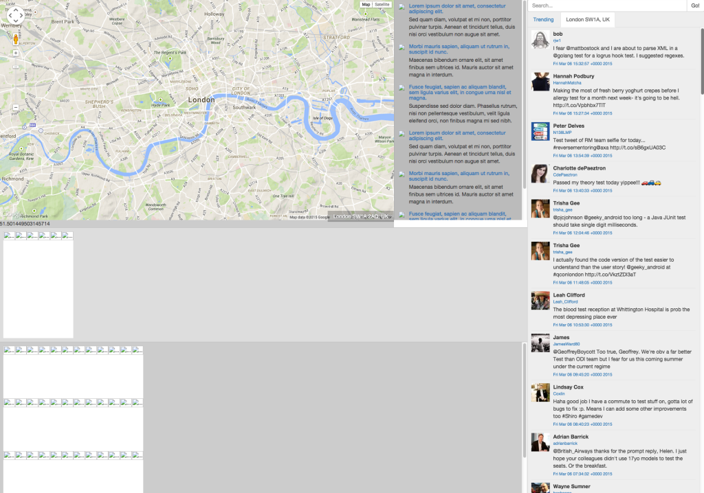 Google Map API And Twitter API  Connected - London